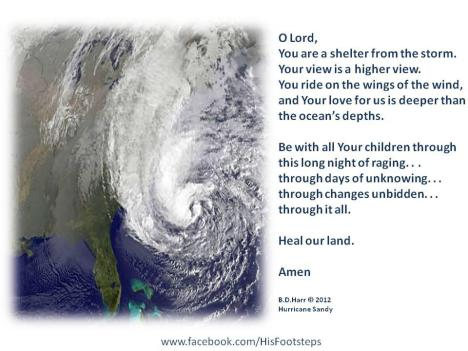 A prayer for those in the path of Hurricane Sandy