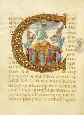 From The Drogo Sacramentary a Carolingian illuminated manuscript on vellum of c.850, vis wikimedia Commons