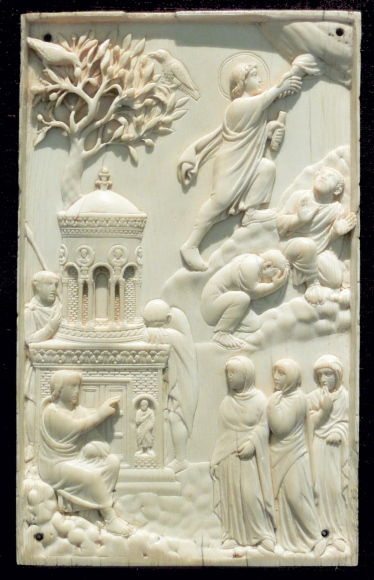 This ivory depiction of the Ascension was produced in Rome or Milan around 4th Century. vi Wikimedia