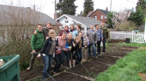 George Fox students help out in the Mustard Seed Garden