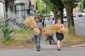 Carrying wheat to church